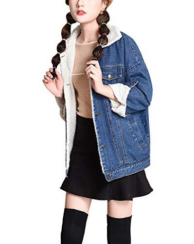 Yimoon Women's Loose Fleece Lined Denim Jacket Thick Warm Sherpa Lined Oversized Jean Coat (Dark Blue, Medium)