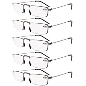 Eyekepper 5-Pack Straight Thin Stamped Metal Frame Half-eye Style Reading Glasses Readers Gunmetal +2.25