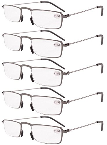 Eyekepper 5-Pack Straight Thin Stamped Metal Frame Half-eye Style Reading Glasses Readers Gunmetal - Readers Frame Half
