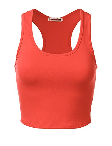 - SSOULM Women's Cotton Basic Sleeveless Racerback Crop Tank Top Orange M