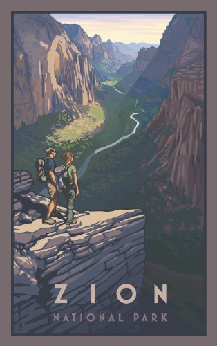 Northwest Art Mall Zion National Park Utah Zion Canyon Hikers Artwork by Paul B. Leighton, 11-Inch by - Malls Utah