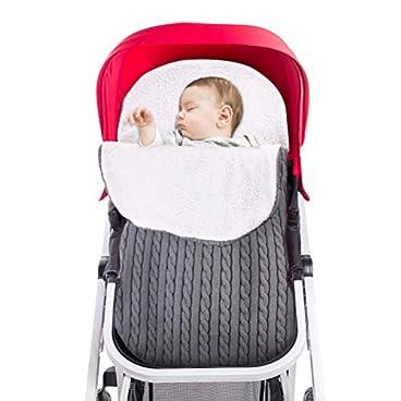 RIOGOO Baby Wickeldecke, Neugeborenen Wickeldecke Zip Knit Schlafsack Decken Kinderwagen Wrap für Mädchen Baby Unisex (Grau) (0-12 Monate)