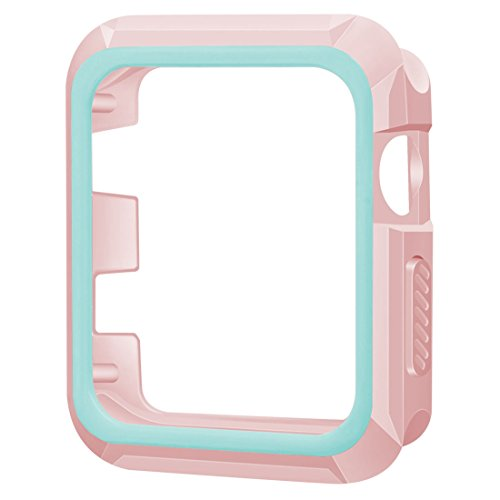 Series 1 Sticker - Apple Watch Case, iiteeology 38mm Rugged Slim Protective iWatch Case for Apple Watch Series 3/2/1 – Pink/Green