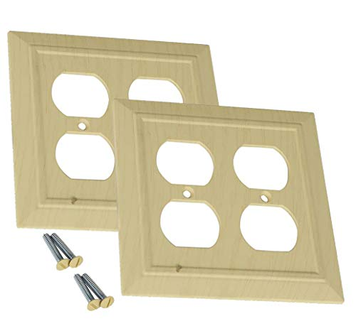 Outlet Switch Covers by SleekLighting | Decorative Unfinished Look | Variety of Styles: Decorator/Duplex / Toggle / & Combo | Size: 2 Gang Duplex (Combo Duplex Outlet Double Toggle)