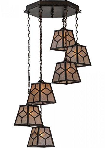 "Meyda Tiffany 146196 Diamond Mission 6 Light Cascading Pendant Light Fixture, 27"" Width"