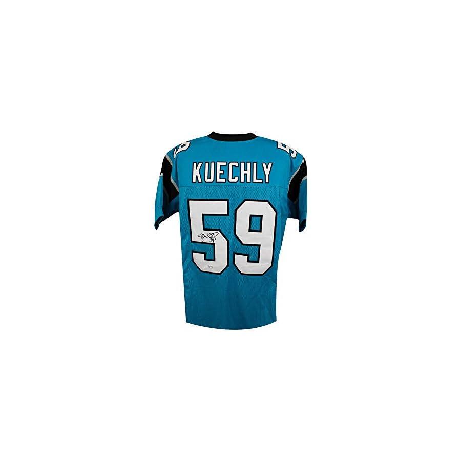Luke Kuechly Autographed Carolina Panthers Custom Blue Football Jersey BAS COA