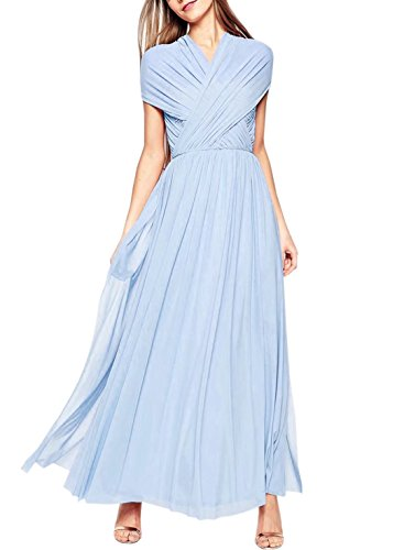 Vestito Luce Maniche Blu V Damigella Sera Collo Moda Da Senza Del Delle Abiti D'onore Donne Promenade Da Sposa nFgaqYwxxT