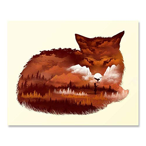 Nature Wall Art Decor Landscape Picture of A Large Fox Overlooking the Mountains and Forest Trees - Beautiful Unframed Outdoor Wilderness Inspiration Print 8 x 10 Inches