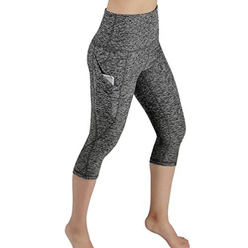 (Gillberry Power Flex Yoga Capris Pants Tummy Control Workout Running 4 Way Stretch Yoga Capris Leggings Side Pocket (Gray, L))