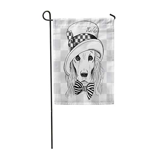 Semtomn Garden Flag 12x18 Inches Print On Two Side Polyester Cool Portrait of Dog Cocker Spaniel in Hatter Top Hat Home Yard Farm Fade Resistant Outdoor House Decor -