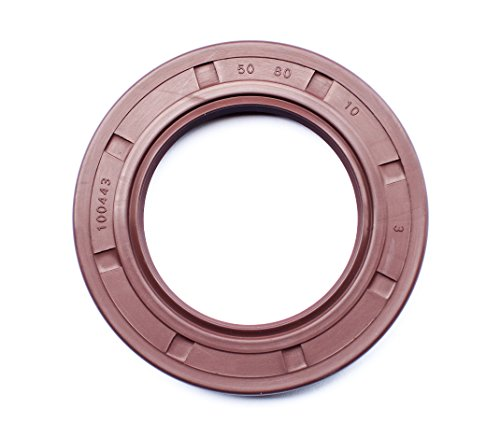 Oil and Grease Seal TC 50X80X10 VITON Rubber Double Lip with Spring 50mmX80mmX10mm (5 Pieces) by EAI Parts