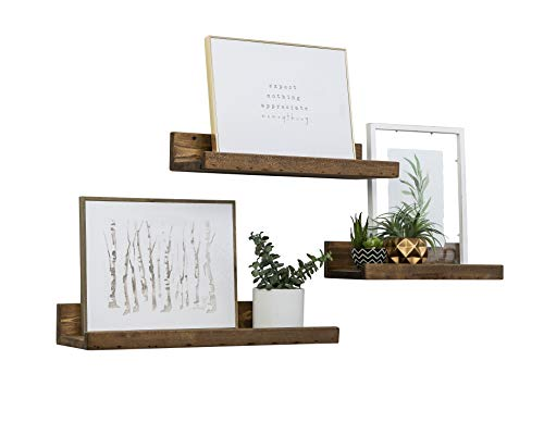 Del Hutson Designs Rustic Luxe Floating Shelves, USA Handmade, Pine Wood, Set of 3 (Walnut) (Wall Pine Shelves)