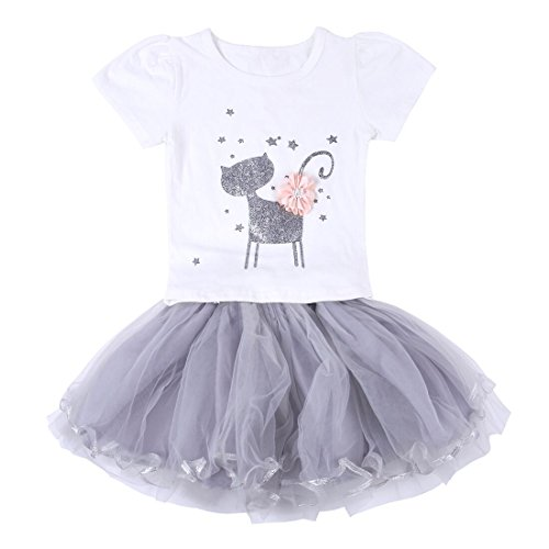 (Neeseelily Baby Girls Clothes 2pc Cute T-Shirt+ Tulle Tutu Skirt Cartoon Outfit Set 18-24 Months)