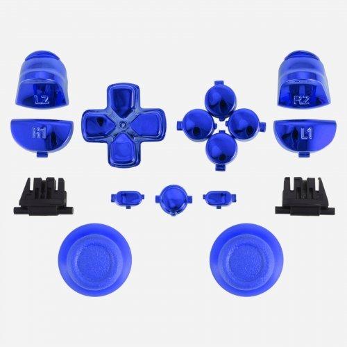 MODFREAKZ™ PS4 New Version JDM-030 Thumbsticks Dpad R1L1 R2L2 Share Option Home Buttons Chrome Blue For 2nd Gen Controller