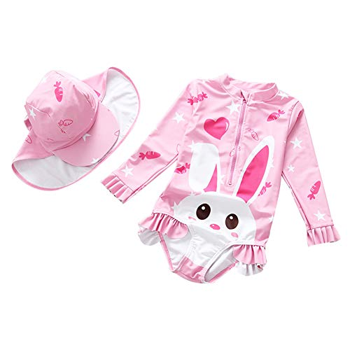 ids One Piece Bathing Suit UPF 50+ Long Sleeve Swimsuit Swimwear with Hat 3-4T ()