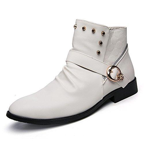 CXH-Botas HUA&X Mens Vintage Martin Botines señaló toe botas remache zapatos zipper,Blanca
