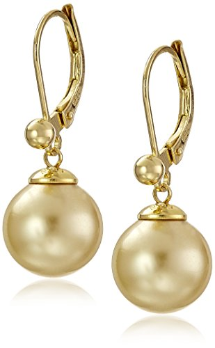 Majorica 10mm Round Champagne Pearl Euro wire Drop Earrings - Pearl Euro Wire Earrings