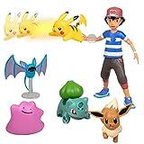 Pokémon Battle Figure Multi Pack Set with Launching Action - Generation 1 - Includes Ash, Pikachu, Zubat, Eevee, Ditto and Bulbasaur - 6 Pieces - Ages 4+