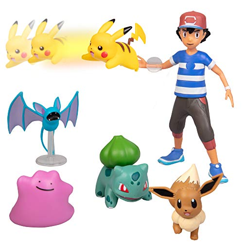 Pokémon Battle Figure Multi Pack Set with Launching Action - Generation 1 - Includes Ash, Pikachu, Zubat, Eevee, Ditto and Bulbasaur - 6 Pieces - Ages 4+