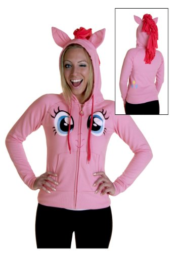 My Little Pony Pinkie Pie Face Juniors Pink Costume Hoodie with Mane (Juniors Small)