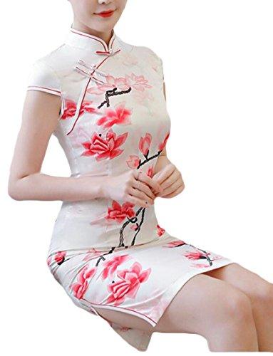 Jaycargogo Femmes Imprimer Manches Courtes Mini Robe Qipao Chinois Cheongsam 1