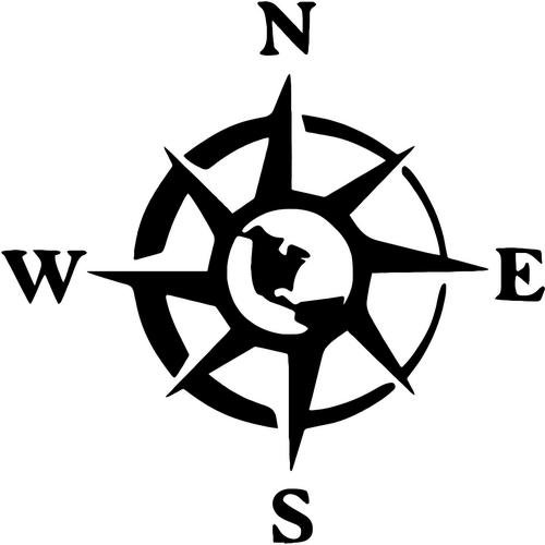 Compass Rose Nautical Vinyl Decal Sticker- 6'' Wide Gloss Black Color by Crazydecals (Image #3)