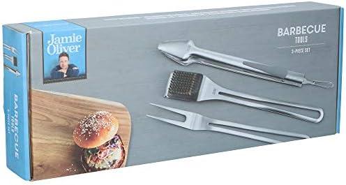 Jamie Oliver Lot de 3 ustensiles pour barbecue Pince à barbecue en acier inoxydable avec brosse et fourchette