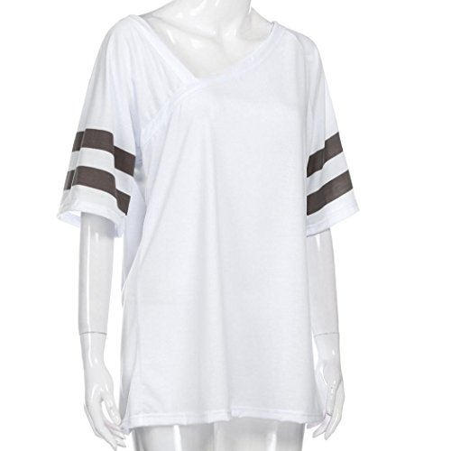 con señoras diseño Bluester ocasional V suelta blanca cuello irregular mujer media blusa manga ocasionales en camiseta vAqxFwR