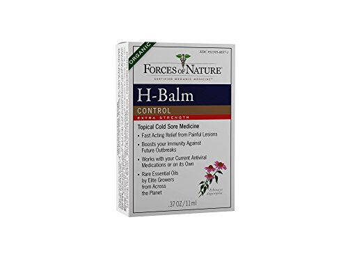 Forces of Nature - Natural, Organic, H-Balm Control Extra Strength Cold Sore, Fever Blister Treatment (11ml) Non GMO, No Harmful Chemicals -Fast Relief for Tingling, Burning and Itching Pain.
