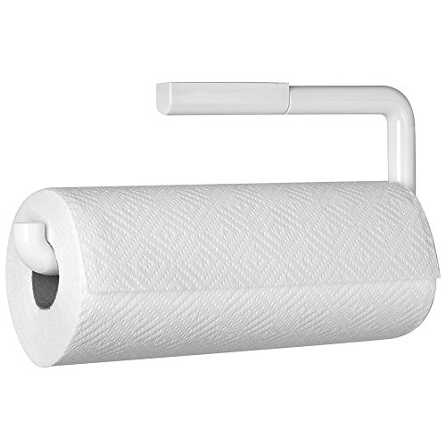 mdesign wall mount paper towel holder for inside kitchen cabinets and home white