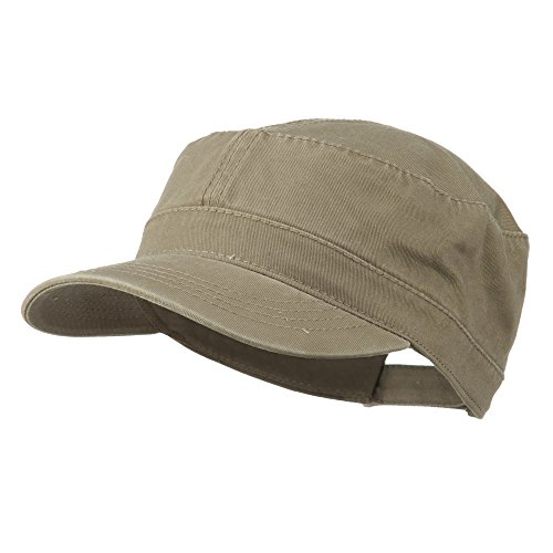 Otto Caps Garment Washed Adjustable Army Cap - Dk Khaki OSFM - Military Cap Collection