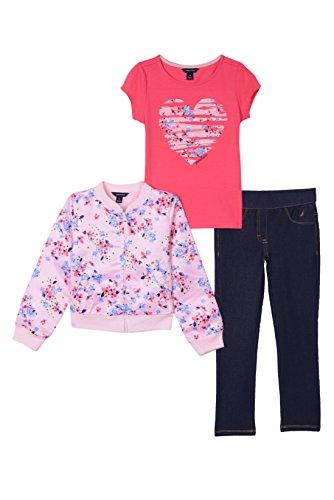 Nautica Girls' Toddler Satin Bomber Jacket, Knit Top & Jegging, Light Pink, 4T ()