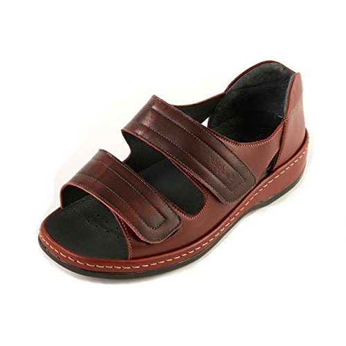 Burgundy Wide in Sandpiper Extra Sandal Touch Back Red Fastening Long Women's 'cheryl' Twin Fit 6e Heel wqngB6fA