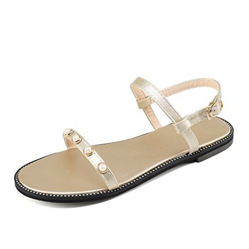 SJJH Flat Sandals with Large Size and Simple Style Women Sandals All Match Women Flat Shoes Gold JDCI57j