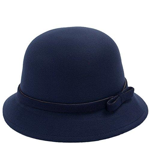 EUBUY Womens Vintage Wool Felt Fedora Hat with Bowknot Flopp