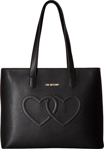 LOVE Moschino Women's Embossed Heart Tote Bag Black One Size by Love Moschino