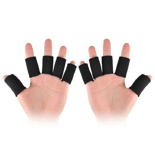 Noir Sport Basketball Fitness Néoprène Finger Couverture 10 Pcs