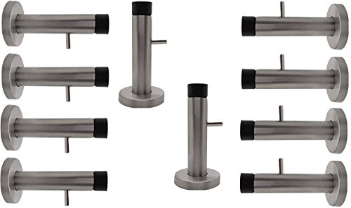 Bumper Coat Hook - Desired Home Stainless Steel Door Stopper with Sound Dampening Rubber Bumper - 10 pcs Wall Mount Door Stop, with Hardware Screws, Brushed Finish, 3.5 Inch in Height