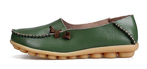Venuscelia Dames Comfort Walking Cute Platte Loafer Groen