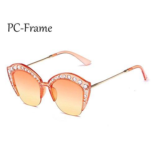 Sunglasses Frame G161 de sexy de PC Marco ojo señoras de C7 Rhinestone TL gafas Gafas marco Medio sol Mujer PC tonos gato de C6 fdqfgSa