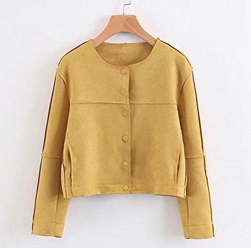 de abrigo corta mujer Chaqueta Amarillo de chaqueta Internert mujer Moda Chaqueta otoño invierno de gamuza gamuza Outwear 7IIS0vwq