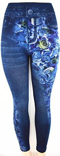 0722d585212630 Docele Women's High Waist Fashion Jeans look Print Jeggings Denim Leggings  Free Size