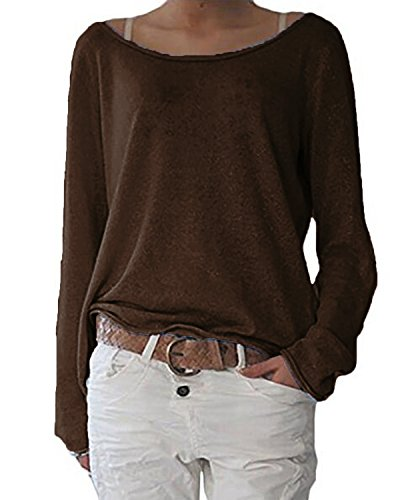 Pullover Knit Top (ZANZEA Women's Solid O Neck Long Sleeve T Shirt Casual Knit Tops Blouse Pullover Coffee US 6/Tag Size S)
