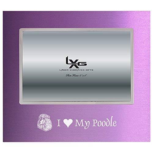Frame Poodle (4x6 Brushed Metal Picture Frame-I love my Poodle-Purple)