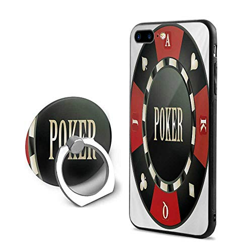 Poker Tournament iPhone 7 Plus/iPhone 8 Plus Cases,Casino Chip with Poker Word in Center Rich Icon Card Suits Print Vermilion Army Green,Design Mobile Phone Shell Ring Bracket ()