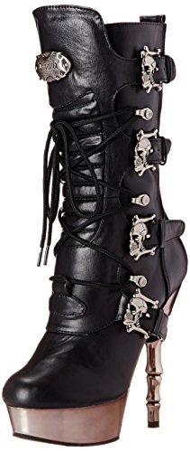 Mujer Demonia para Leather Negro Vegan Negro 1026 Pewter Chrome Botines Blk Muerto aIqrwa
