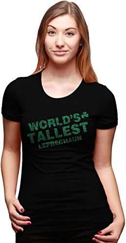 [Women's World's Tallest Leprechaun GLITTER T Shirt Cute Saint Patricks Day Tee XL] (Cute St Patricks Day)