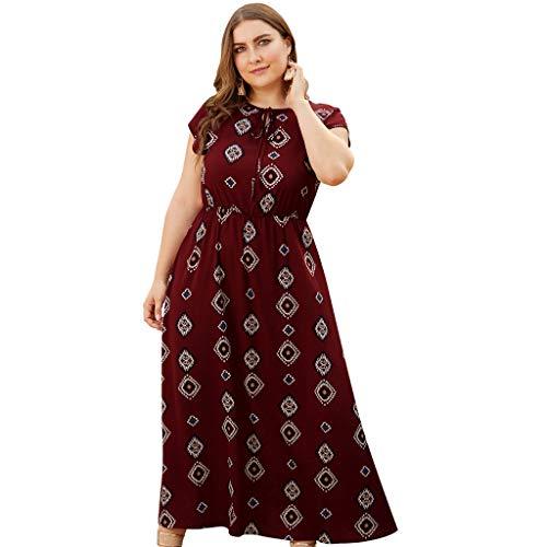 Toimothcn Women's Plus Size Floral Dress Short Sleeve O-Neck High Waist Casual Holiday Dresses(Wine,XL)