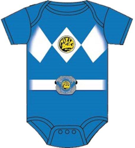 Power Rangers Blue Baby Ranger Costume Romper Onesie (18-24 -