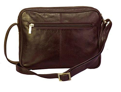 """Vilenca """"1210 Marrone"""" Signore borsa a tracolla, borsa di cuoio per le donne, Dimensioni- L26cmxH18cmxB6cm"""